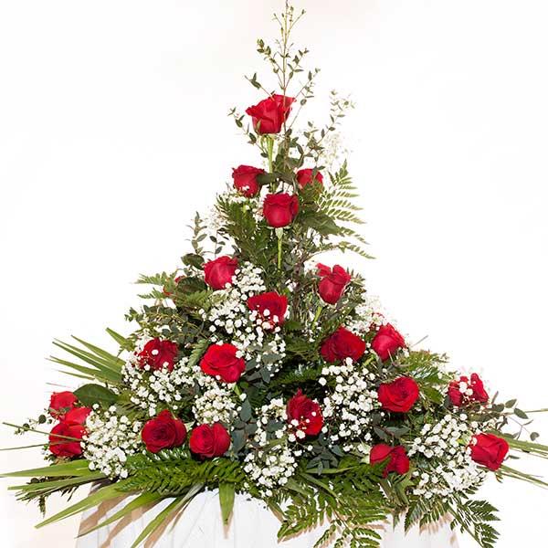 Centro vertical de rosas