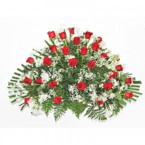 Centro de rosas abanico